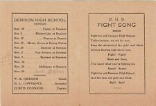 Extremely Rare 1923 DENISON YELLOW JACKETS (Texas) HIGH SCHOOL Football SCHEDULE