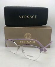 New VERSACE Eyeglasses 1247 1000 52-17 Lilac Purple-Silver Semi Rimless Frames