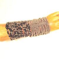 Set of 2 Bright Black Silver Handmade Cleo Stretch Seed Bead Cuff Bracelets