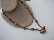 Vtg.Handmade Terracotta Figural Seal Mammal Beads Fetish Style Pendant Necklace