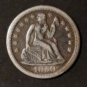"1850 Seated Liberty Dime, 10 Cents, Circulated condition, ""Circulation Cameo"""