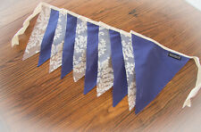 2m Handmade Bunting Flags Navy Blue and Lace - Party Wedding Child Bedroom Decor