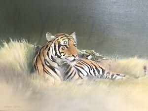 Original Oil Painting, Reclining Tiger,Maurice Gardner