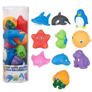 10pc Funny Animal Set Water Squirties Bath Toy Play Children Plastic Squeeze NEW