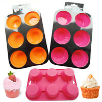 6 Silicone Muffin Mould Cup Cupcake Baking Pan Tray Cake Non Stick Mold Bakeware