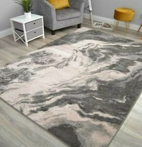 Grey Beige Lounge Carpets Designer Floor Rugs Small Extra Large Marble Effect