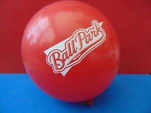 "Lot of 10 New Qualatex ""BallPark Brand"" 5"" Red Logo Balloons"