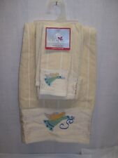 Christmas Holiday Bath Towel Set Hand Towel Cotton EMBROIDERED Angels Beige NWT