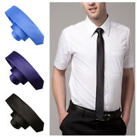 1Pc Original Unisex Slim Tie Solid Color Plain Silk Woven Necktie 5cm Thin Tie e