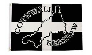 Cornish Flag 5ft x 3ft Cornwall Silhouette Kernow Baner 100% Polyester Flags