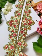 X92 Luxury Antique Gold Fancy Teardrop Stone Ribbon Trimming Border Indian Lace