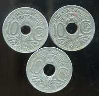 10 centimes LINDAUER  1941 ZINC la serie  3 pieces  A  B  C