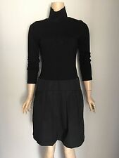 CUE Black Dropped Waist High Neck Dress 10
