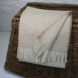 Sand Donegal Fleck 100% Wool British Made Tweed Fabric Blanket Throw