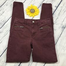 American Eagle Womens Hi Rise Jegging Jeans Size 2 Stretch Ankle Burgandy hs583