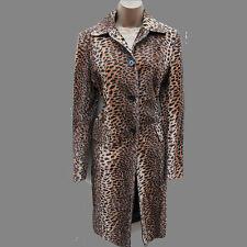 KAREN MILLEN Faux Fur Leopard Print Pony Feel Long Posh Mac Coat Jacket 10 UK