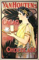 Van Houtens Cacao Chocolat Plaque Bouclier 3D en Relief Étain Signer 20 X 30 CM