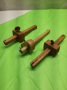 Vintage STANLEY Lot Wood Mortise Scribe Gauge Measuring Tool - Marking Gauge