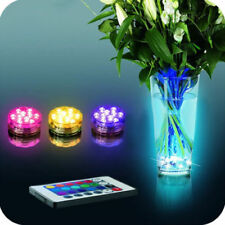 10 LED RGB Submersible Waterproof Wedding Party Vase Base Floral Light Remote UK