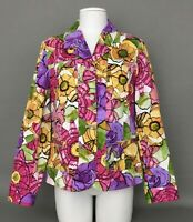 ADDITIONS By Chicos Multicolor Flower Print Women's Jacket Sz.2 ~ Cotton Blend