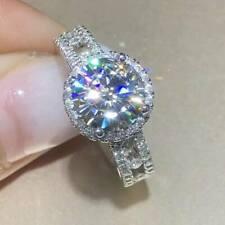 2.50Ct Round-Cut Moissanite Halo Wedding Engagement Ring 14K White Gold