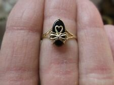 BEAUTIFUL VTG? LADIES or GIRLS 10K YELLOW GOLD & BLACK ONYX RING, HEART & BOWS