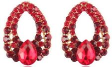 Beautiful Red Tear Drop Diamante Earrings Stud For Pierced Ears Water UK E111