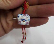 Brand New Maneki Neko Lucky Cat Ceramic Fortune Knot Cell Phone Charm Blue