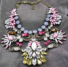 Fashion pentand Crystal Bib Statement charm chunky colorful collar Necklace 803
