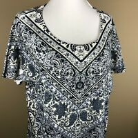 Style & Co Women's Short Sleeve Tee Top Plus Size 1X Blue White, Paisley Floral