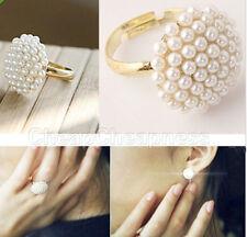 Vogue Beautiful Light Jewelry Ladies White Pearl Mushroom Finger Ring Gift BDAU