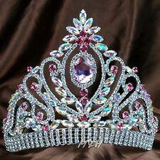 Women Large Crown Pink Crystal Wedding Bridal Tiara Pageant Prom Party Hairwear