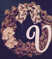 "16"" Brown Burlap Wreath With Chevron Bow And Monogram ""V"" HANDMADE"