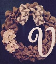 "16"" Brown Burlap Wreath With Chevron Bow And Monogram ""V"" HANDMADE!!"