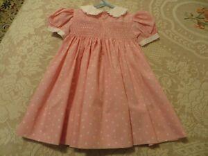 Girl's 2T ? Pink & White Polka Dot Intricately Smocked Bodice & Back Dress