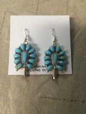 Native American Navajo Cluster Sterling Turquoise Earrings Lisa Williams Nice!!