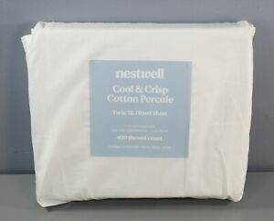 Nestwell Cool & Crisp Cotton Percale 400 TC Twin XL Fitted Sheet Egret [GS Q]