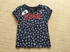 New With Tags Navy Floral Short Sleeved 'Star' Top By gap Age 6-7 Yrs