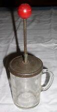 Vintage PAMCO Food Chopper - 12 oz Glass Jar - Red Wood Knob Plunger