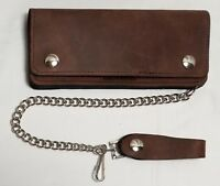 "Large Brown Leather Trucker Wallet 7.5"" x 3.5"" With 12"" Chain MADE IN USA"