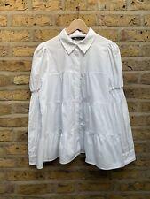 Zara New White Cotton A Line Puff Sleeve Shirt Size L