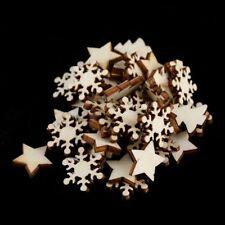 50Pcs Hölzern Schnitzen Chip Weihnachten Baum Hängend Verzierung DIY Haus Dekor