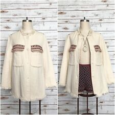 ZARA TRF TRAFALUC Outerwear Embroidered Fringe Quilted Jacket IVORY Size Small S