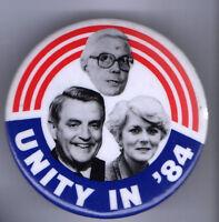 1984 MONDALE + FERRARO  pin  UNITY