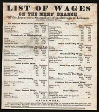 1853 lebanon Pa --   Shoemakers Union List of Wages - Broadside Letterhead Rare