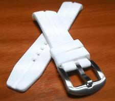 """22mm WHITE Silicone Rubber Sport Diver Watch Strap Band """"Curved End"""" WC1282"""