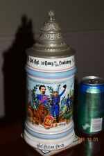 Orig. Antique 1L Regimental Military German Beer Stein, Porcelin, Lithopane 1901