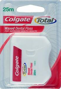 12x Colgate Total Waxed Dental Floss (25m) - PACK   Remove plaque   gentle clean