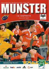 Munster V Ospreys Heineken Cup 12 Dic 2010 Thomond Park, Limerick Rugby programa
