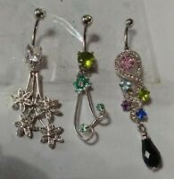 Lot of 3 Belly Button Ring Navel Set Piercing Body Jewelry Flowers Multi Color